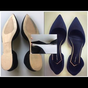 Zara D'Orsay Flats With Metal Detail Size 11
